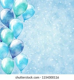 Blue balloons. Sparkle background with watercolor texture.