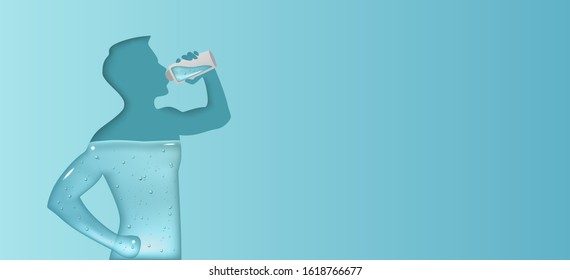 Blue banner of aqua balance in human body. Silhouette of man is drinking water.