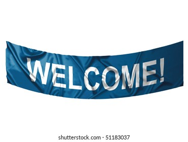 A blue banner with white text saying Welcome