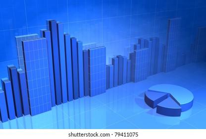 Blue Bar Chart Wire frame