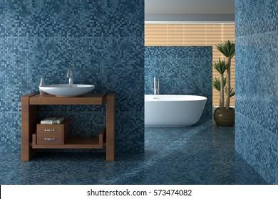 Blue bathroom including bath and sink