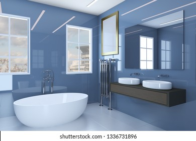 Blue bathroom with two washbasins and large windows. Blank paintings.  Mockup. 3D rendering