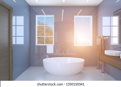 Blue bathroom with two washbasins and large windows. Sunset. 3D rendering