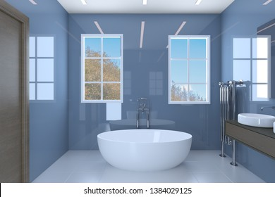 Blue bathroom with two washbasins and large windows. 3D rendering