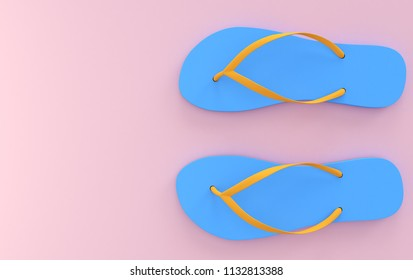 Blue beach sandals on a pink background, pastel colors, top views, 3d rendering