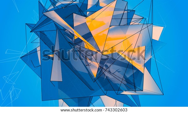 Blue Beautiful Illustration Polygonal.