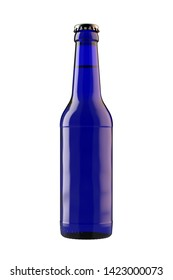 Blue beer bottle Long Neck with drink. 12oz (11 oz) or 355 ml (330 ml) volume. Isolated high resolution 3D render on white.