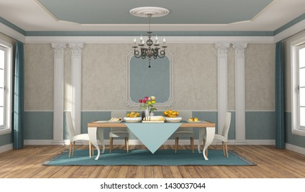 Blue and beige dininig room with elegant table set and chairs in classic style - 3d rendering