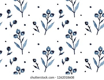 Blue berries plant tree leaves watercolor botanical illustration, hand-drawn seamless pattern in Scandinavian Nordic style for decorative print or poster in modern trendy design