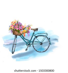 Blue bicycle with flowers in basket on blue background, watercolor hand painted