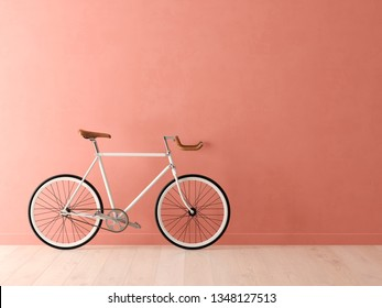 Blue bicycle on pink background 3D illustration