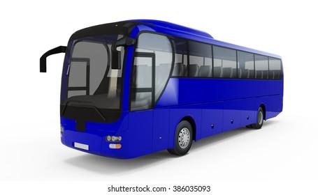 Blue big tour bus isolated on white background