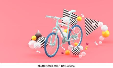 Blue bike among colorful balls on a pink background.-3d render.