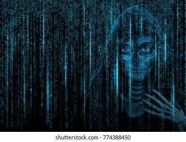 Blue binary code background.