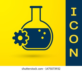 Blue Bioengineering icon isolated on yellow background. Element of genetics and bioengineering icon. Biology, molecule, chemical icon