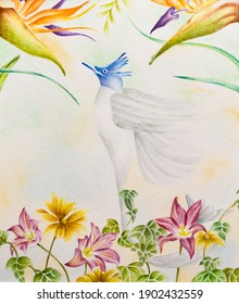 Blue bird flying above flowers to the heaven in the sky persian traditional watercolor painting