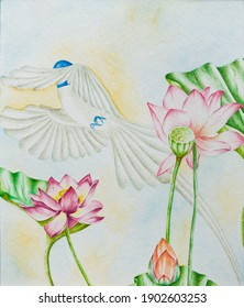 blue bird flying between lotus flowers to the sky Persian traditional technique watercolor painting