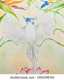 blue bird flying from a lotus flower to the heaven admist flowers and leaves