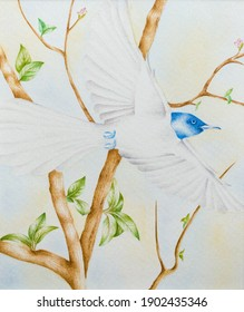Blue bird flying over the branches of a tree Persian Golomorgh Persian art technique watercolor painting