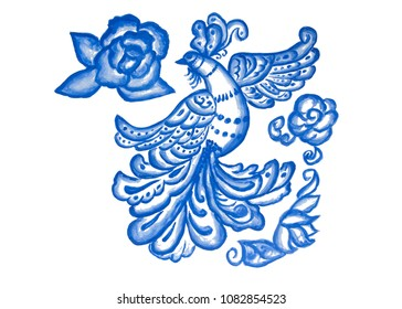 Blue bird on white