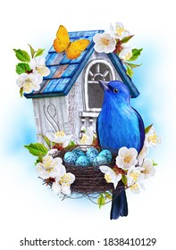 Blue bird titmouse sit near the nest with eggs, white birdhouse, cherry blossoms, butterfly, easter spring background, mixed media, 3d rendering