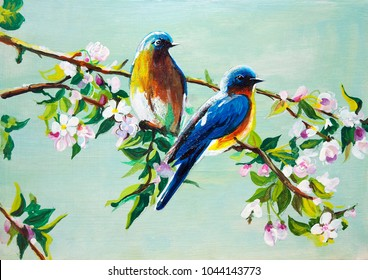 Blue birds in the spring apple tree. Oil painting