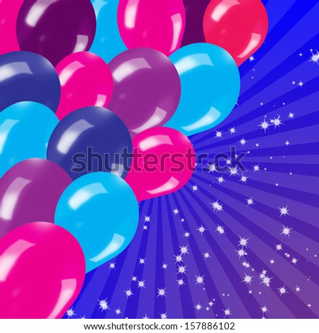 Blue Birthdays Background With Balloons Rays And Stars
