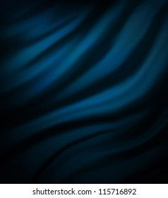 blue black background abstract cloth illustration wavy folds smooth silk texture satin or velvet material or dark luxurious background or wallpaper design elegant curves, blue black fabric material