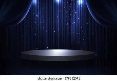 Blue and black curtain and round stage in the dark with spotlight, glittering and sparkling stars