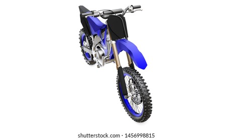 Blue and black sport bike for cross-country on a white background. Racing Sportbike. Modern Supercross Motocross Dirt Bike. 3D Rendering.