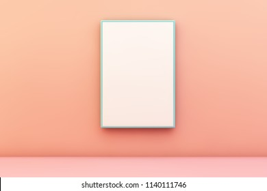 blue blank frame on a wall 3d rendering