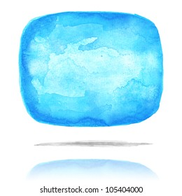 Blue blank watercolor speech bubble dialog shape with drop gray shadow and color reflection on white background. Colorful handmade technique aquarelle.