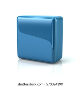 Blue block 3d rendering on white background