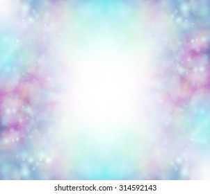 Blue Bokeh background border - soft bokeh blues, purples, pink with a white graduated center creating a frame effect ideal for baby boy birth and christening events