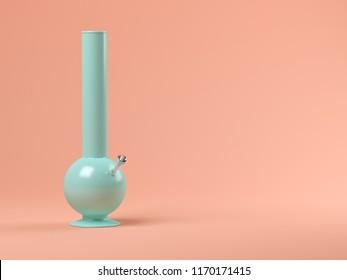 Blue bong on pink background 3D illustration