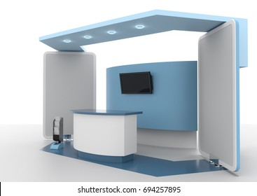 blue booth mock-up template. 3D rendering
