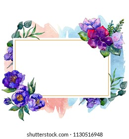 Blue bouquet flowers in a watercolor style. Frame border ornament square. Full name of the plant: peony. Aquarelle wildflower for background, texture, wrapper pattern, frame or border.