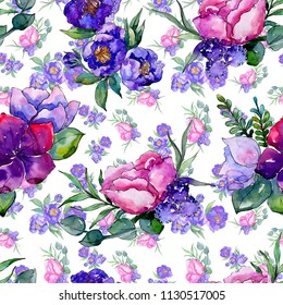 Blue bouquet flowers in a watercolor style. Seamless background pattern. Full name of the plant: peony. Aquarelle wildflower for background, texture, wrapper pattern, frame or border.