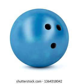 Blue bowling ball on white background, 3D illustration