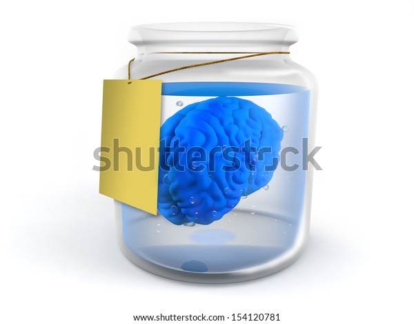 A blue brain inside a glass jar with white background