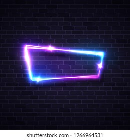 Blue brick neon background. Music fest or punk party design template. Technology glowing lights banner sign. Electricity abstract frame with stars and sparkles. Electrical board illustration.