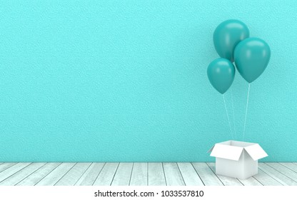 Blue bright balloons floating and open box with wooden floor on blue turquoise wall background.Image mock up for festival,event marketing,Christmas and New Year concept in 3d rendering,3d illustration
