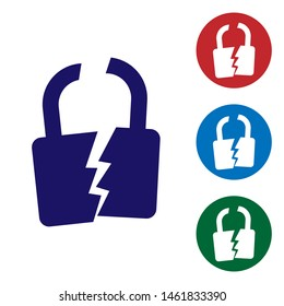 Blue Broken or cracked lock icon isolated on white background. Unlock sign. Set color icon in circle buttons