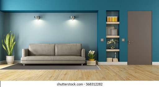 Blue and brown modern livingroom with sofa, niche and closed door - 3D Rendering