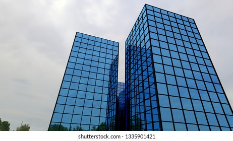 blue building glass windows office finance perspective skyscraper 3D illustration
