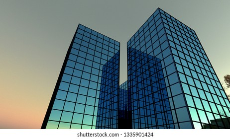 blue building at night glass windows office finance perspective skyscraper 3D illustration