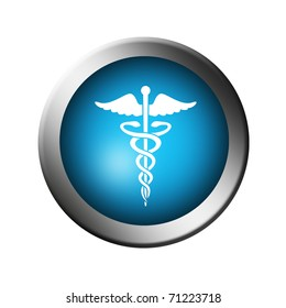 Blue button with the symbol of medicine over white background