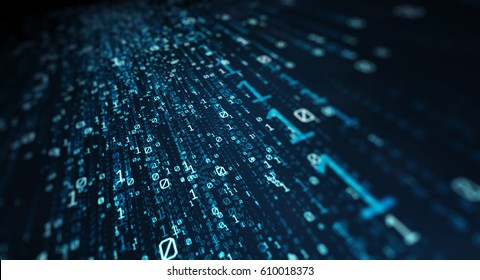 Blue bytes of binary code flying through a vortex, background code depth of field. Binary Code  Background. 3D Rendering