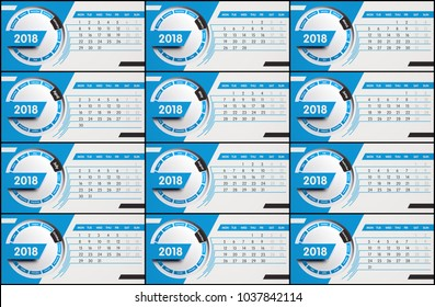 Blue calendar with all 12 months of the year 2018, 3d illustration