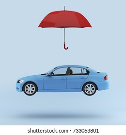 Blue car protected with red umbrella, automobile safety icon isolated. minimal concept. photography image.